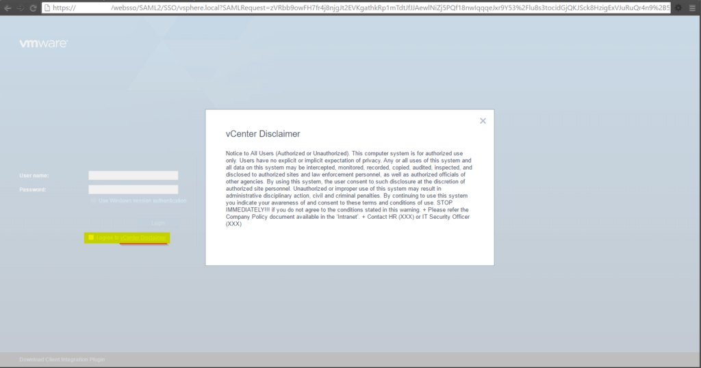 VMware Platform Services Controller Disclaimer